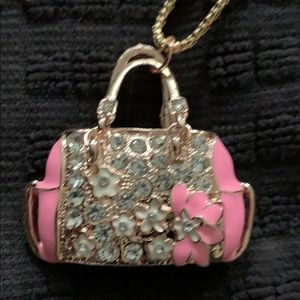 Betsy Johnson Pink Purse Necklace